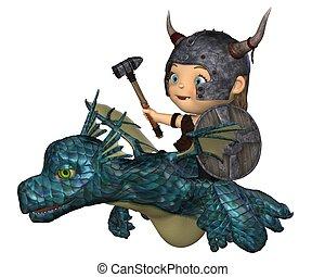 Toon Baby Viking Flying a Dragon