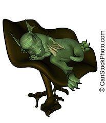 toon, bebê, toadstool, dragão
