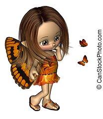 toon, borboleta, fada, -, laranja