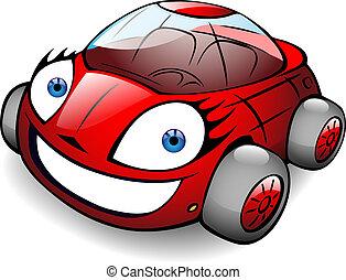 toon, car, vetorial, feliz