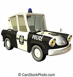 toon, coche, policía