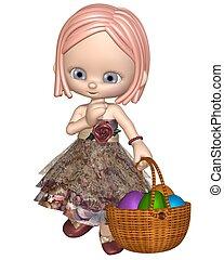 toon, csinos, leány, húsvét
