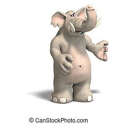 toon, elefánt, invitál
