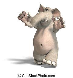 toon elephant is scared - a funny cartoon elephant has fear....