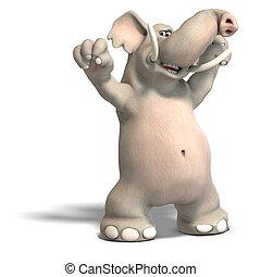 toon elephant jubilates - a cartoon elephant is jubilating....
