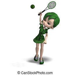 toon girl in green clothes with racket and tennis ball. 3D rendering with clipping path and shadow over white