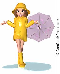 Toon Girl - Rainy Day - 3D Render of an Toon Girl