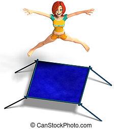 toon kid enjoys trampoline - rendering of a cartoon girl who...