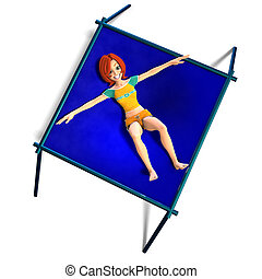 toon kid enjoys trampoline