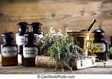 toon, kleurrijke, flessen, keukenkruiden, geneeskunde,...