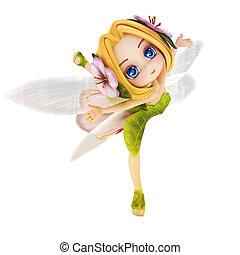 toon, lindo, fairy., bailarina