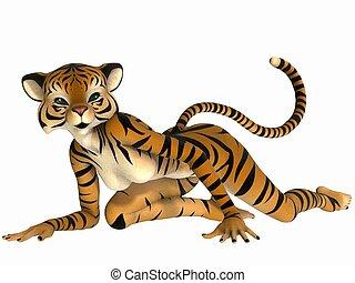 toon, lindo, -, figura, tigre
