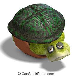 toon, lustiges, turtle, leben, genießt