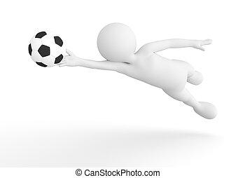 toon, man, voetbal, goalkeeper, besparing, de, bal, van,...