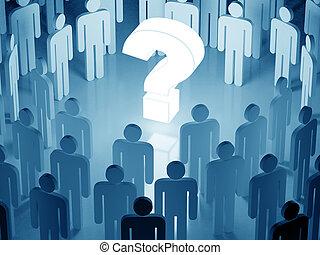 toon, menigte, groot, omringde, vraagteken, gloeiend,...