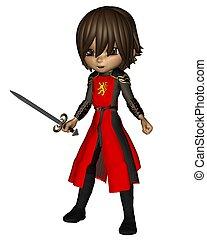 toon, mignon, 2, -, chevalier