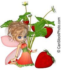 toon, mignon, fée, fraise
