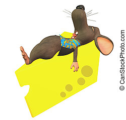toon mouse -  sleeping mouse on cheese