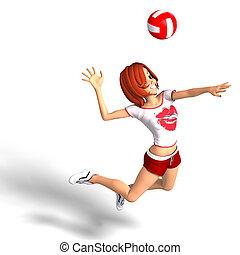 toon, niña, juegos, voleibol