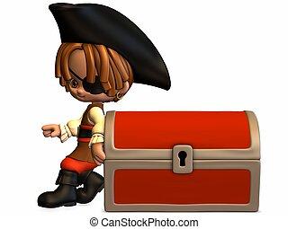 toon, poco, -, pirata, figura