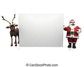 Toon Santa and reindeer with big blank sign.