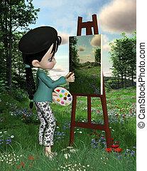 toon, schattig, meisje, landscape, kunstenaar