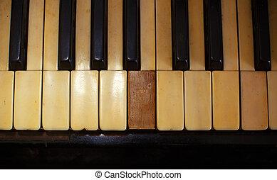 toon, sleutels, ouderwetse , sepia, een, haveloos, houtstructuur, closeup, witte , piano, black