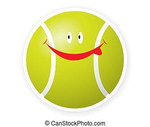 toon, sonrisa, deporte, pelota, tenis