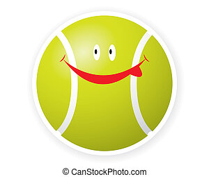 toon, sorriso, sport, palla, tennis