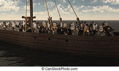 Toon Viking Longship and Crew