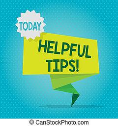 toon, zijn, tekst, strook, back, meldingsbord, tips., leeg, zeehondje, informatie, gegeven, kennis, ruimte, postzegel, ineengevouwen , twee, geheim, foto, conceptueel, het tonen, sticker., raad, spandoek, behulpzaam, groene, of