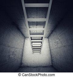 toonaangevend, ladder, op