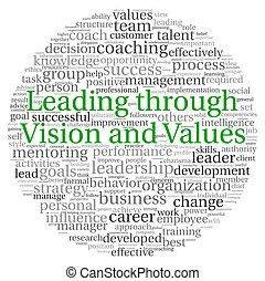 toonaangevend, throuth, het concept van de visie, in, woord,...