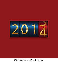 toonbank, 2013, isolated., illustratie, vector, jaar, nieuw, 2014.