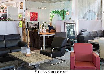 toonzaal, moderne, luxe, winkel, meubel