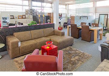 toonzaal, moderne, winkel, meubel