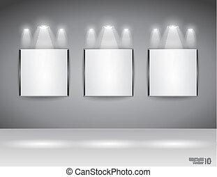 toonzaal, paneel, voor, slagzin, tentoonstelling
