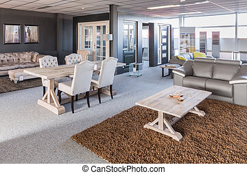 toonzaal, van, modern meubilair