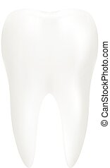Tooth, 3d Render. Dental, Medicine And Health Concept Design Element Isolated On A White Background. Realistic Vector Illustration.
