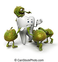 Tooth and bacteria - 3d rendered illustration of a tooth ...