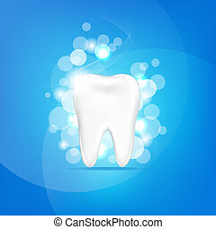 Tooth With Blue Background And Bokeh, Vector Illustration