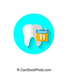 Tooth and calendar, illustrated in a flat design style of vector illustration. Modern icon of dentistry. Website and design for mobile applications and other your projects