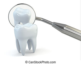 Tooth and dental equipment on white background. 3d