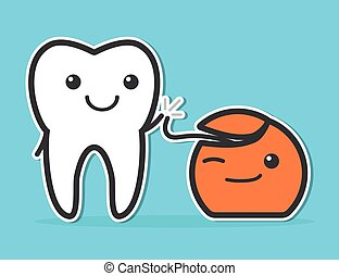 Tooth and dental floss