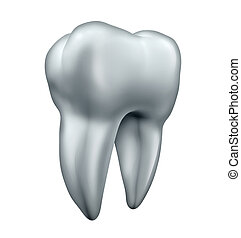 Tooth and dental health care symbol as an icon for healthy human bright white teeth as an isolated molar on a white background.