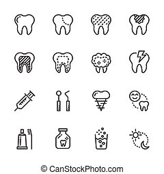 Tooth and Dental , Healthcare and medical icons. Vector line icons