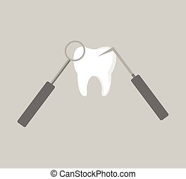 Tooth and Dental Instruments vector icon - dental treatment