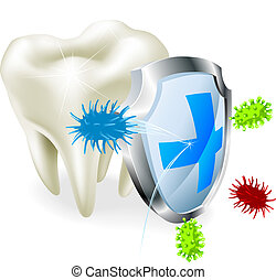 Tooth and shield concept - A tooth being protected from...