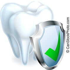 Tooth and Shield - A medical dental illustration of a tooth...