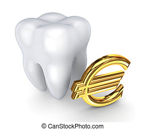 Tooth and symbol of Euro.Isolated on white background.3d...